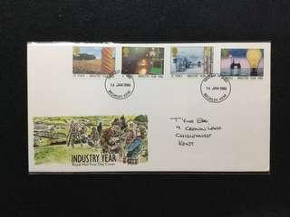 1986 Great Britain Industry Year FDC  (Note: Flap Stuck Inside Description Card)#MY1212