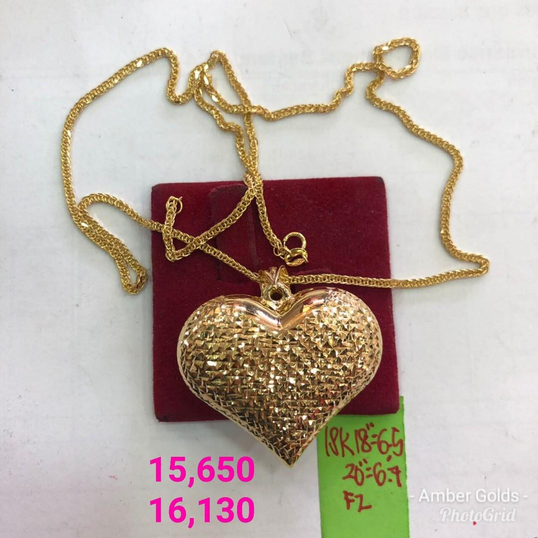 18k Saudi Gold Necklace Big Heart Women S Fashion Jewelry On Carousell