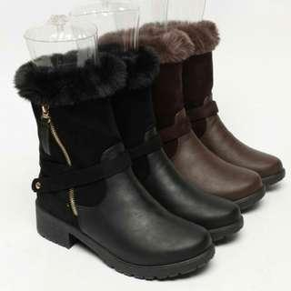 【預購】韓國   따봉(1476359):皮革+毛*靴子/女鞋(尺寸:230-250)_免運。