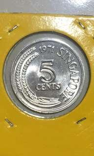 1971 Singapore old coins 5cent