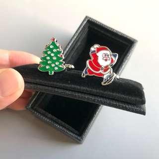 (全新) 聖誕節 聖誕樹 聖誕老人 袖口鈕 袖口扣 袖扣 Santa Christmas Cufflinks