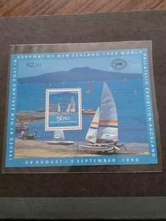 全新新西蘭1990年世界帆船賽小全張