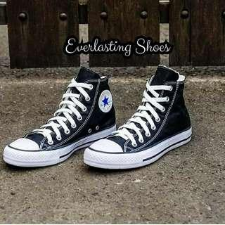 Sepatu Converse All Star High Hitam Black Premium Quality Sneakers Sneaker Grade Ori Import Lokal Shoes Shoe Tali Putih
