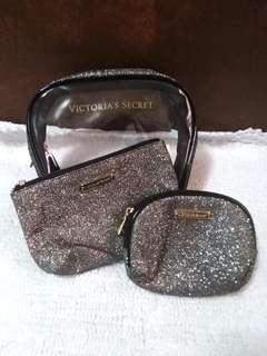Victoria's Secret 3in1 Pouch (Silver Glitter)