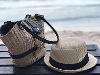 STRAW HAT & STRAW BAG