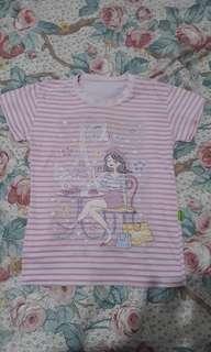 Kaos pink garis garis