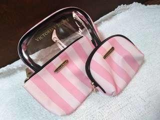 Victoria's Secret 3in1 Pouch (Pink and White Stripes)