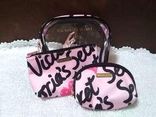Victoria's Secret 3in1 Pouch (Printed Pink)