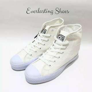 Sepatu Converse All Star High Full White Putih Premium Quality Sneakers Sneaker Grade Ori Import Lokal Shoes Shoe Tali Putih Chuck Taylor