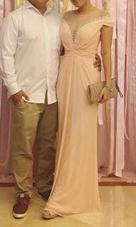 Peach colour dinner dress evening gown