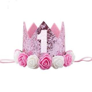🚚 Instock - pink floral birthday crown, baby infant toddler girl
