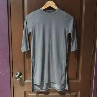 Gray Side Slit Top
