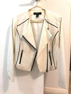 Forever 21 White Silk Crepe Blazer Biker Jacket