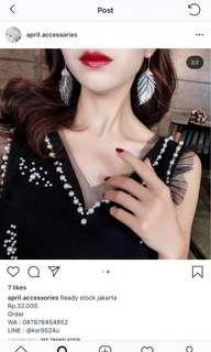 Korean earrings. Silver. (Leaf earrings)