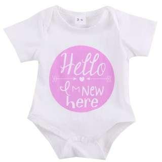 🚚 Instock - hello I am new here pink romper, baby infant toddler girl