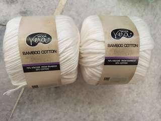 White Bamboo Cotton Yarns (2pcs)