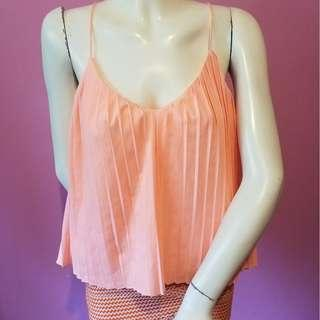 Pleated coral orange top xs toby heart ginger