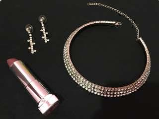 Fancy Sparkling Choker Necklace and Earrings Set
