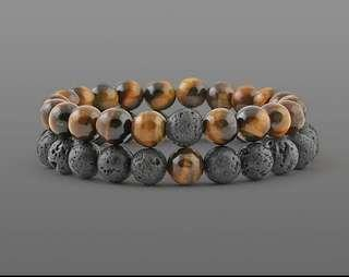 2 Pcs/set Fashion Couple Tiger Eye Stone Bracelets Bangles Classic And black Natural Lava Stones