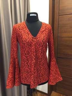 Zara rust lace bell sleeves