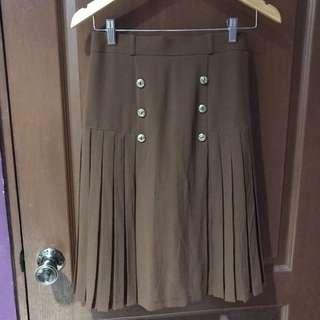 Brown Skirt w/ Gold Button