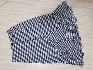 Blue Pixel Ruffles Hem Midi Skirt