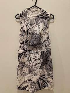 Keepsake black white floral dress
