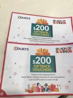 Courts $200 giftback vouchers