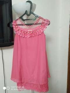 Dress pink pearl (1x pemakaian) fast sale 6-9thn