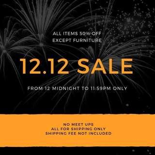 12.12 Sale 50% off all items for 1 day