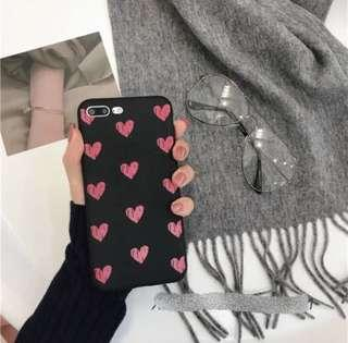 IPhone X 8 Plus Black Red Hearts Cover Casing Case