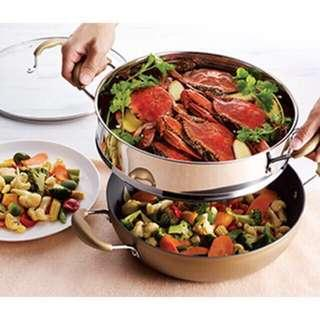 Year End Sales Christmas Gift 2 In 1 Non Stick Wok with steamer