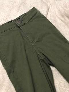 factorie army green high waisted jeggings