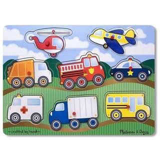 Melissa & Doug Wooden Peg Puzzle Vehicles