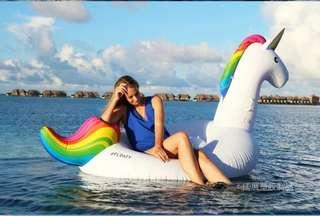 Environment-friendly thickened PVC inflatable swan flamingo seven rainbow sky horse unicorn mount float row