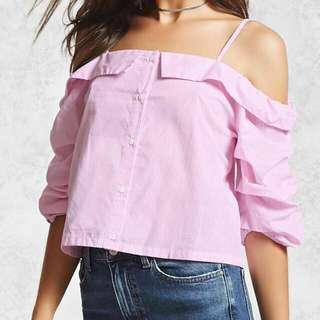 FOREVER 21 Off-shoulder Pink Top