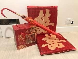 出門三寶-紅傘,茶壺,囍字跪枕😍
