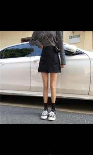 Korean style simple a line skirt w pockets ulzzang black instock
