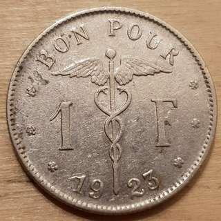 1923 Belgium King Albert I 1 Franc Coin