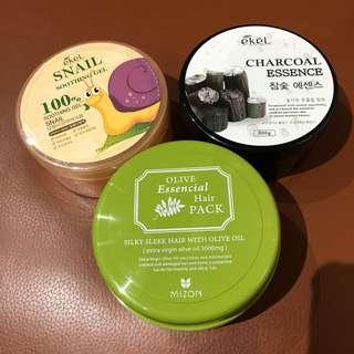 Charcoal Essence and Snail Soothing Gel and Olive Essential Hair Care