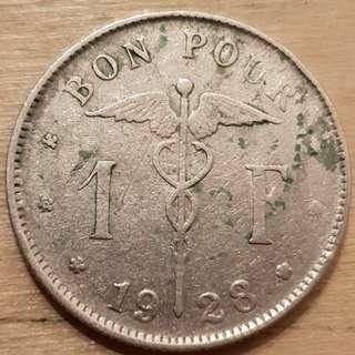 1928 Belgium King Albert I 1 Franc Coin