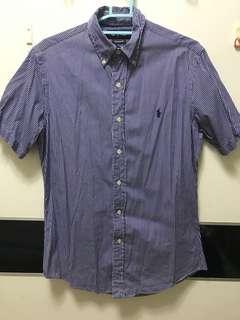 Polo ralph lauren 小馬短袖襯衫 藍色直條紋 合身有腰線 學院風 S size shirt custom fit