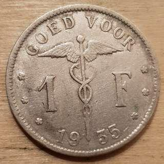 1934 Belgium King Albert I 1 Franc Coin