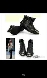 🚚 正韓內增高小牛皮個性鋼頭短靴