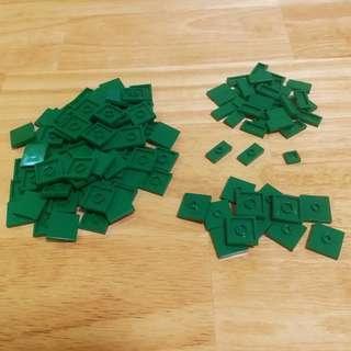 LEGO 散件 #7 - 1x2/2x2 DARK GREEN Tiles 122粒