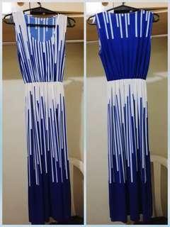Long flowy white and blue dress