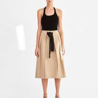 Zara Pleated Skirt With Contrasting Bow Detail