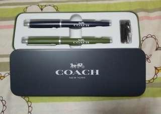 Coach原子筆 + 鋼筆(包兩支墨水筆芯) + 筆盒