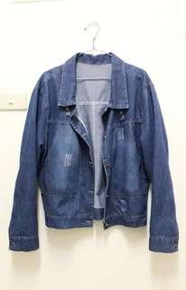 🚚 深藍寬鬆牛仔外套