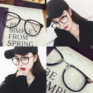 🚚 黑框金架素顏眼鏡